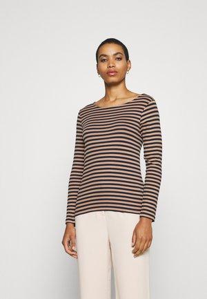 STRIPED LONGSLEEVE - Long sleeved top - navy/beige