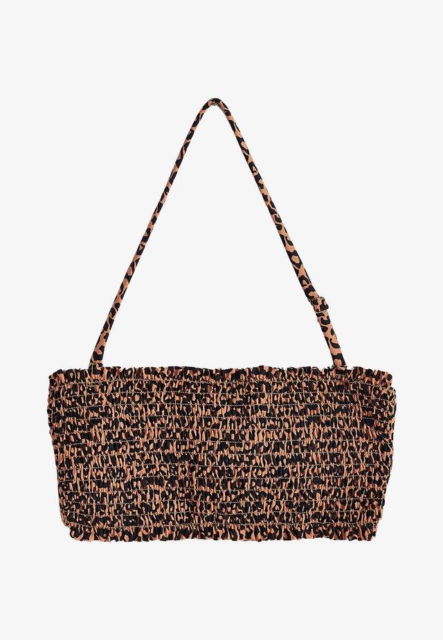 LEOPARD PRINT SHIRRED BIKINI TOP - Bikinitop - brown