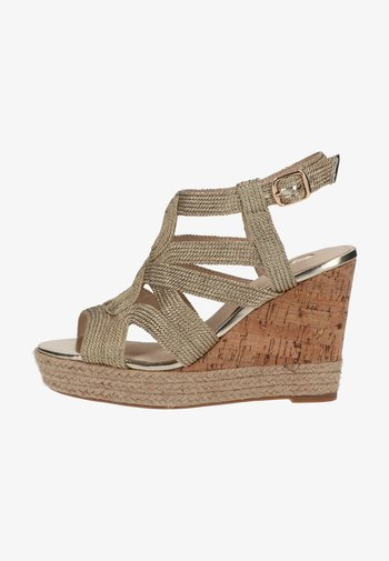 High heeled sandals - gold metallic rope