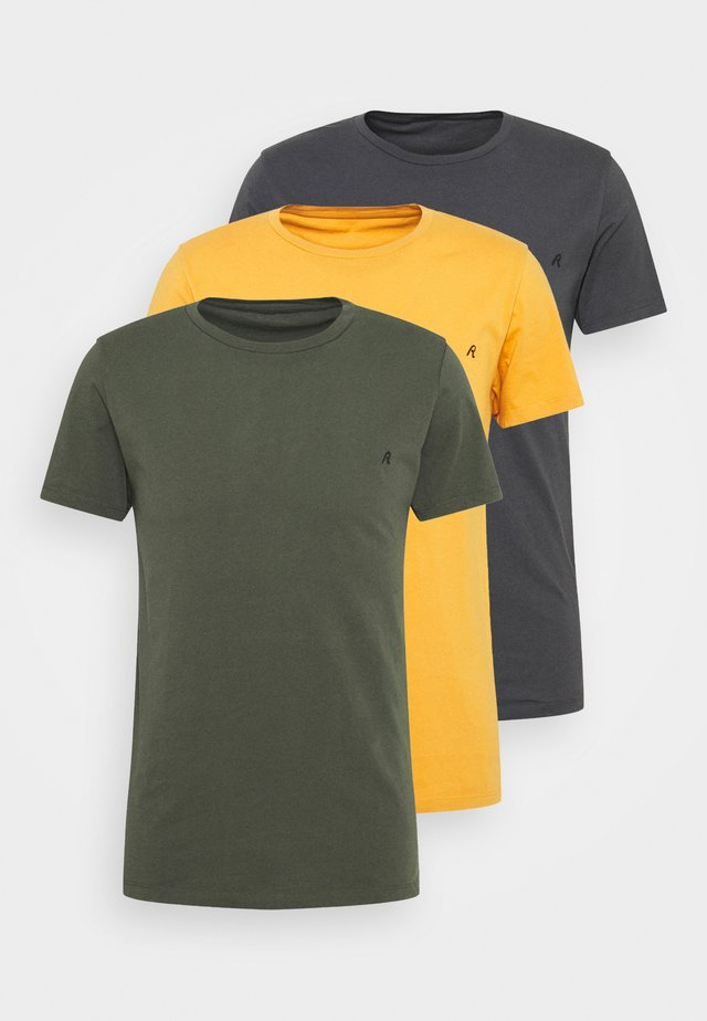 CREW TEE 3 PACK - T-paita - cold grey/ochre/military