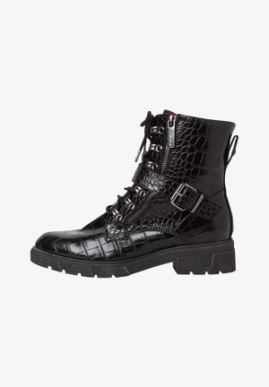 Cowboy/biker ankle boot - black croco