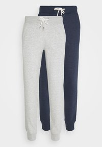 Pier One - 2 PACK - Tracksuit bottoms - mottled light grey/mottled dark blue - 6
