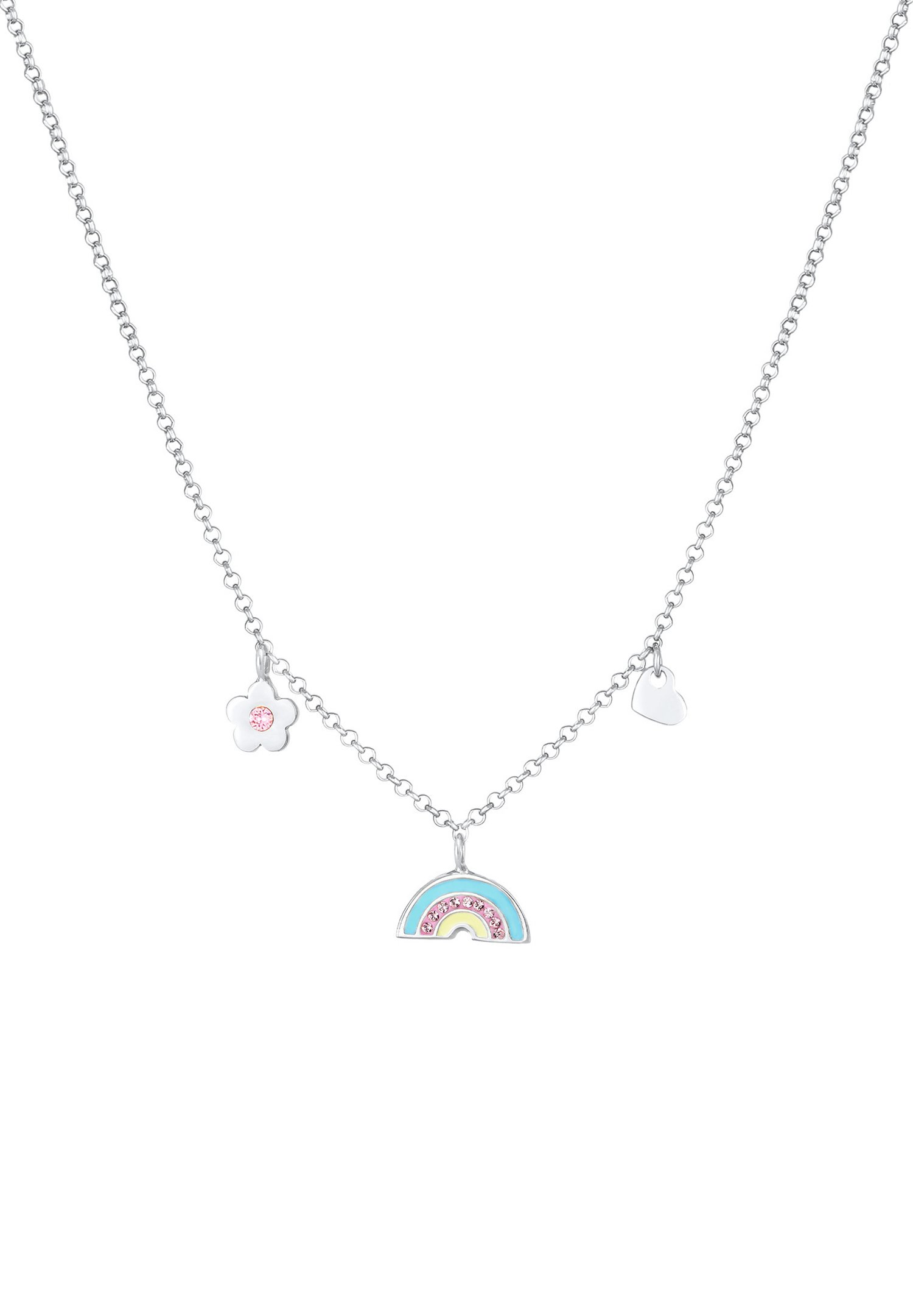 Enfant Rainbow Heart Flower - Collier