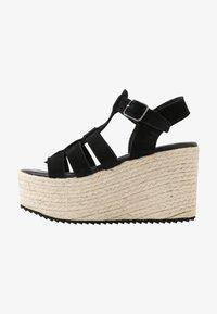 Even&Odd - WEDGE  LEATHER - High heeled sandals - black - 1