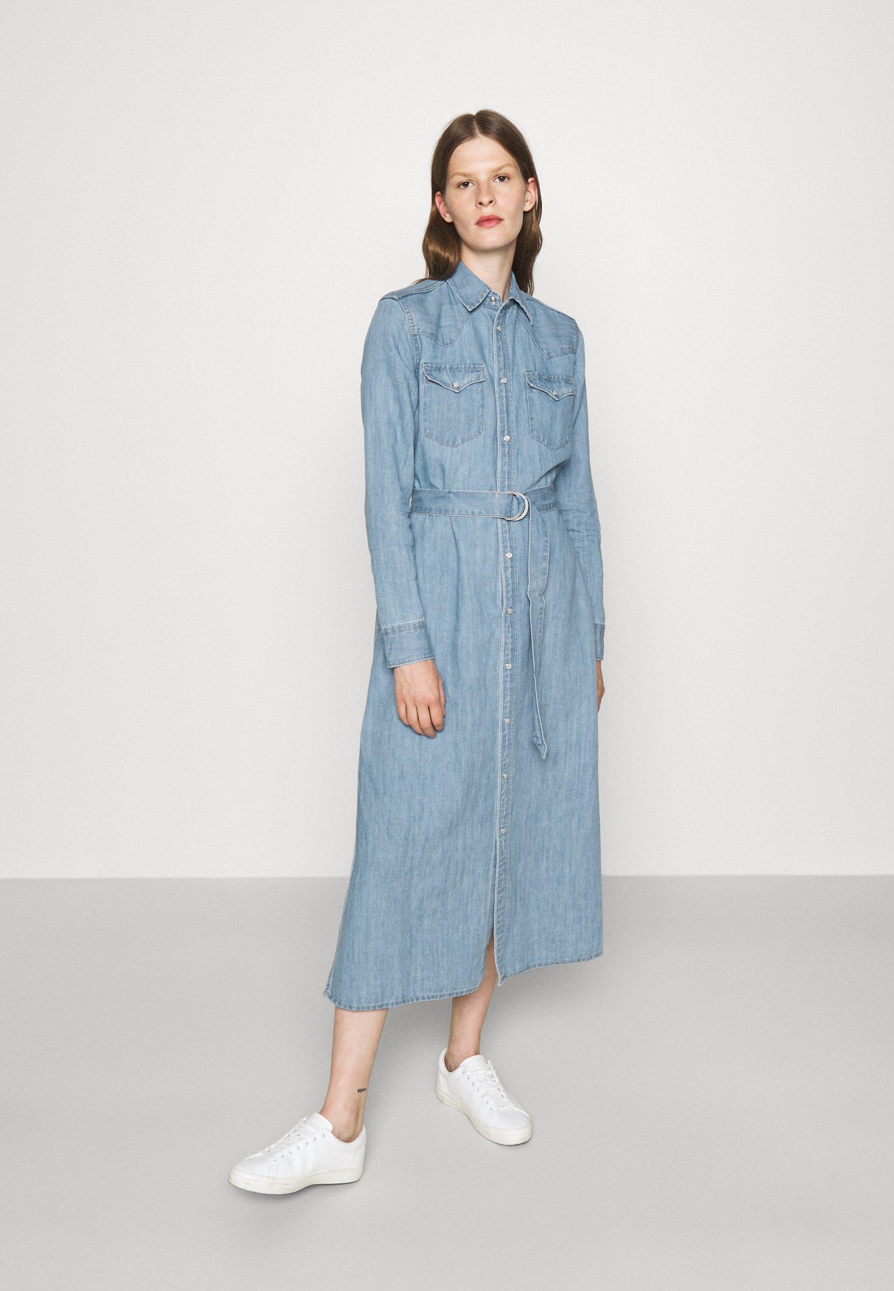 Women LONG SLEEVE DAY DRESS - Denim dress