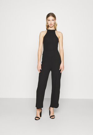 HALTER NECK WIDE LEG JUMPSUIT - Haalari - black