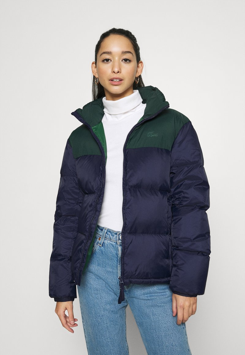 Lacoste - COLOR BLOCK PUFFER - Dunjakke - navy blue/sinople