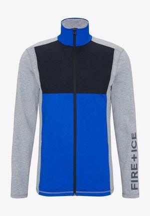 veste en sweat zippée - hellgrau/azurblau/schwarz