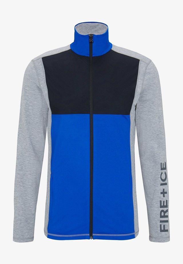Zip-up hoodie - hellgrau/azurblau/schwarz