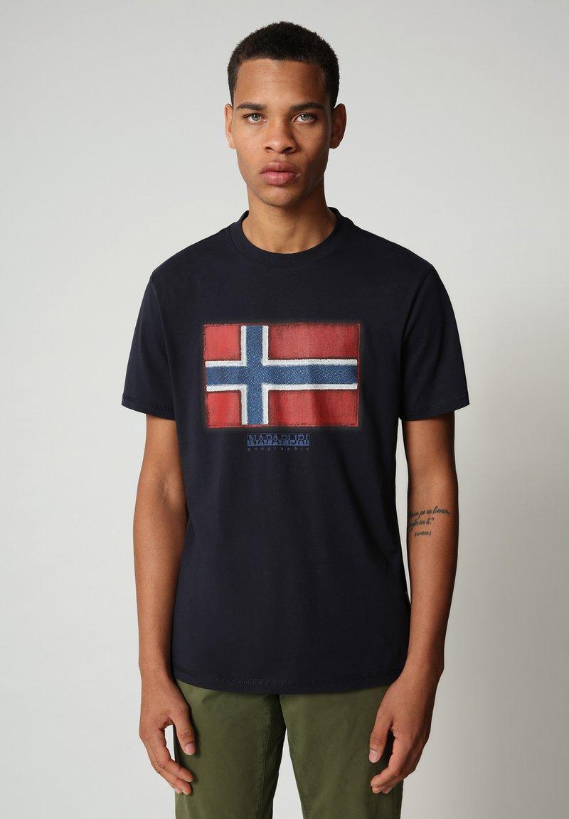 Napapijri - SIROL - T-shirt med print - blu marine