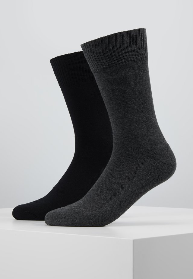 CUSHIONED REGULAR CUT 2PACK - Socks - anthracite melange/black