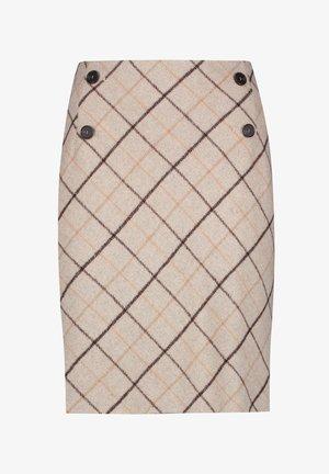 MIT DIAGONALEM KARO - A-line skirt - taupe honig karo