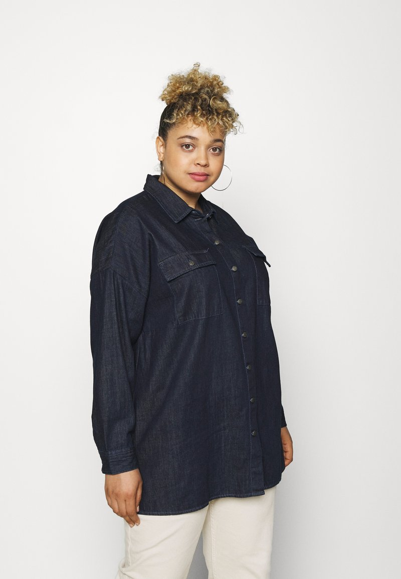 Noisy May Curve - NMFLANNY LONG SHACKET - Short coat - dark blue denim