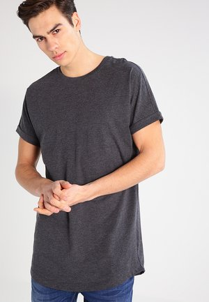 LONG SHAPED TURNUP TEE - T-shirt basique - charcoal