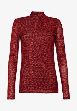 TWIST NECK FLORAL - Long sleeved top - red