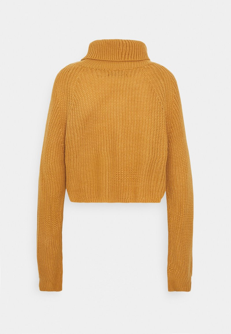 Missguided ROLL NECK BATWING CROP JUMPER - Strickpullover - camel c1rskx