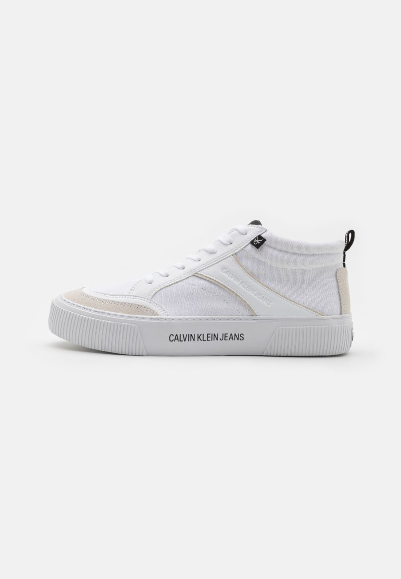 Calvin Klein Jeans - SKATE MID LACEUP MIX - Sneakers hoog - bright white