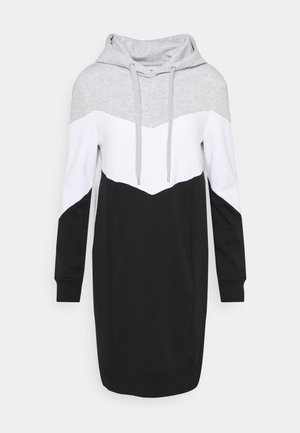 ONLPEAR LONG BLOCKING - Day dress - light grey melange/white black