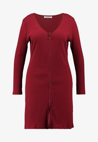 Glamorous Curve - ZIP THROUGH LONG SLEEVE DRESS - Denní šaty - burgundy - 4