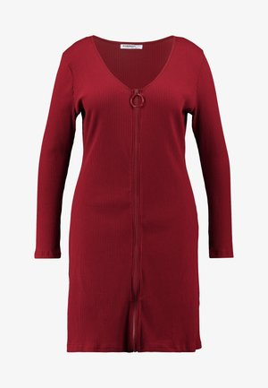 ZIP THROUGH LONG SLEEVE DRESS - Hverdagskjoler - burgundy