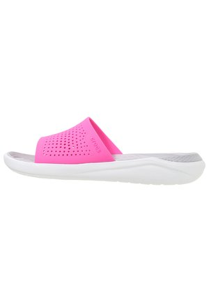 Pool slides - electric pink/almost white