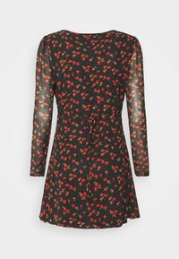 Missguided Petite - HALF BUTTON TEA DRESS FLORAL - Day dress - black - 6