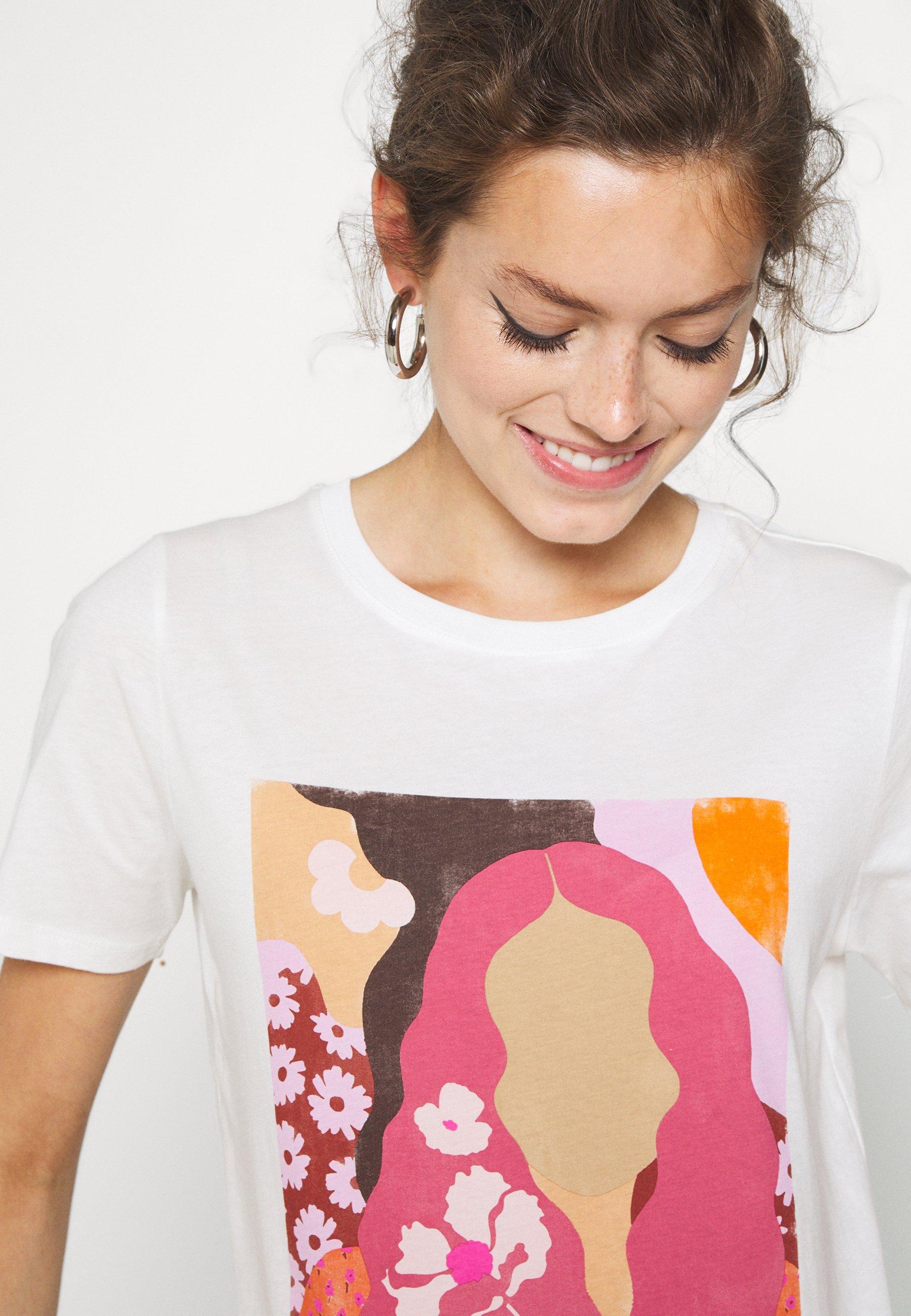 Gina Tricot Ida Tee - T-shirts Med Print Offwhite/flerfarget