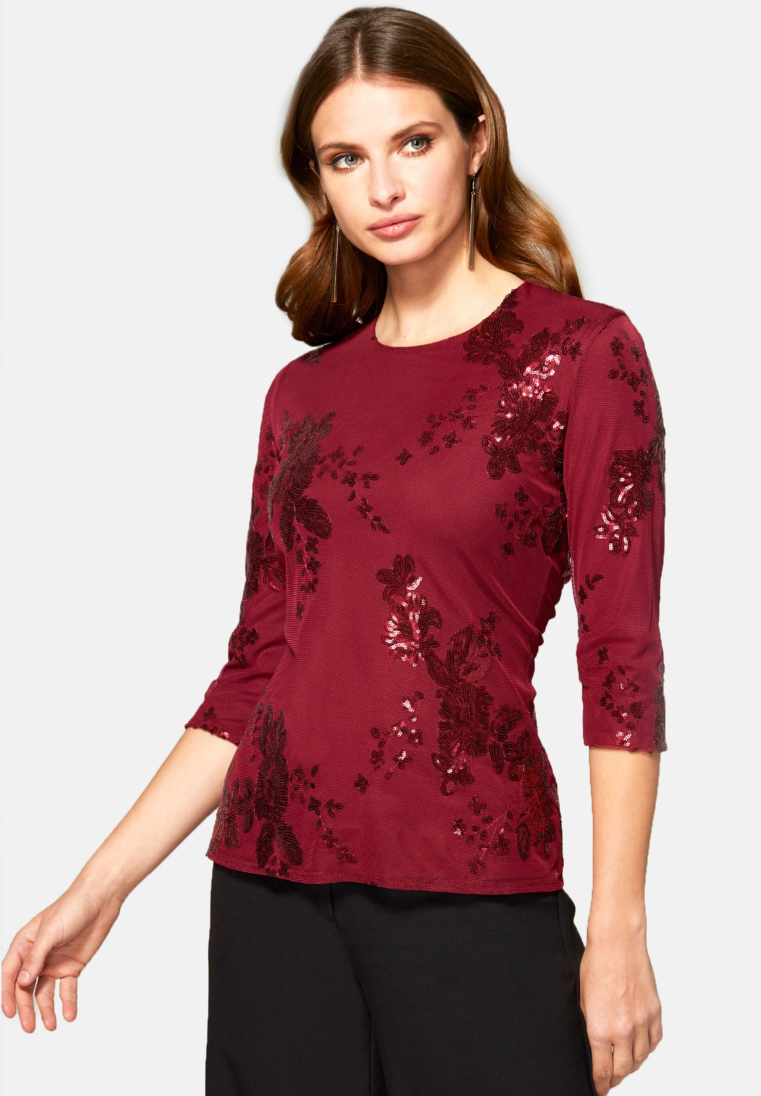 Fast Express Women's Clothing HotSquash SEQUIN PARTY TOP Top red flowers YbsvvjFJH