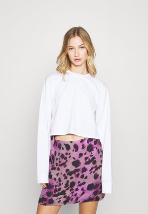 DROPPED SLEEVE TIE BACK - Long sleeved top - white