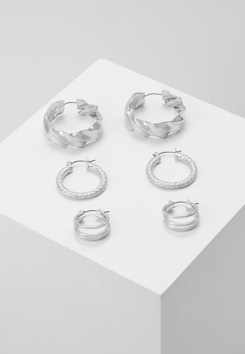 Pieces - PCMAILA HOOP EARRINGS 3 PACK - Øredobber - silver-coloured