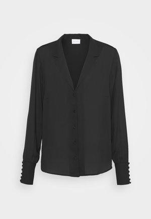 VILUCY BUTTON V NECK - Button-down blouse - black
