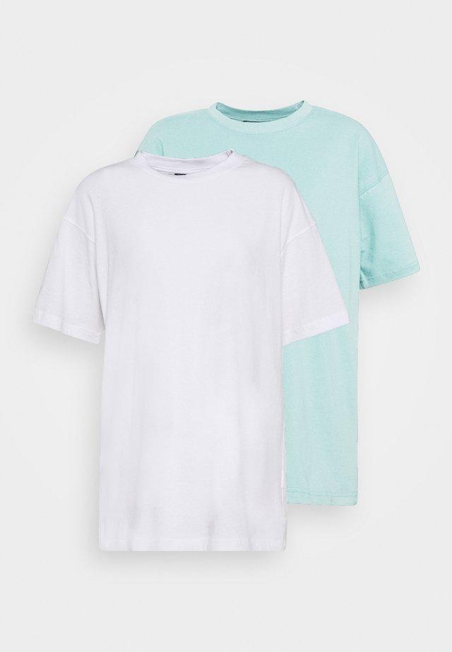 SHOULDER OVERSIZED 2 PACK  - T-shirts - blue/white