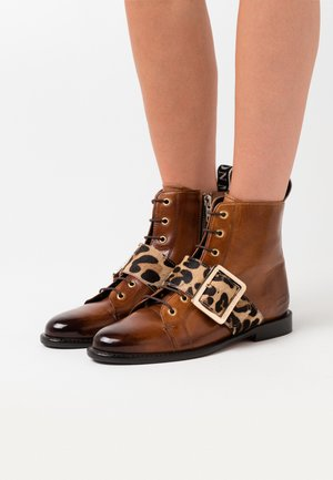 SELINA - Lace-up ankle boots - wood