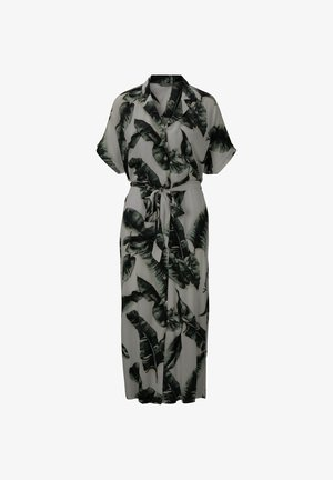Shirt dress - ecru tropical leaves design