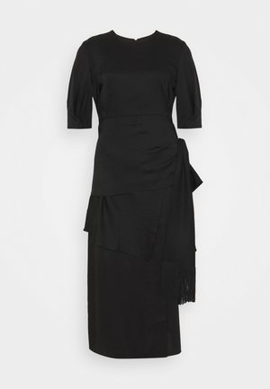 DRESS WITH PEPLUM AND TASSEL DRAPE - Koktejlové šaty / šaty na párty - black