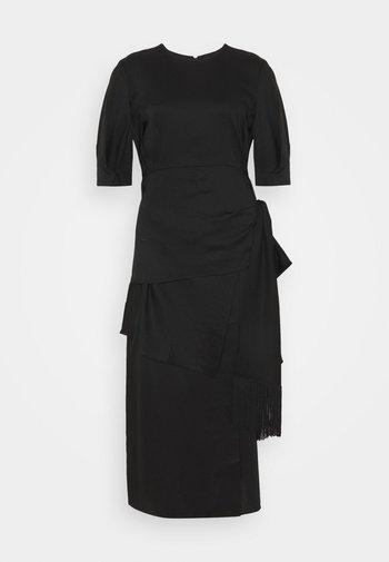 DRESS WITH PEPLUM AND TASSEL DRAPE - Cocktail dress / Party dress - black