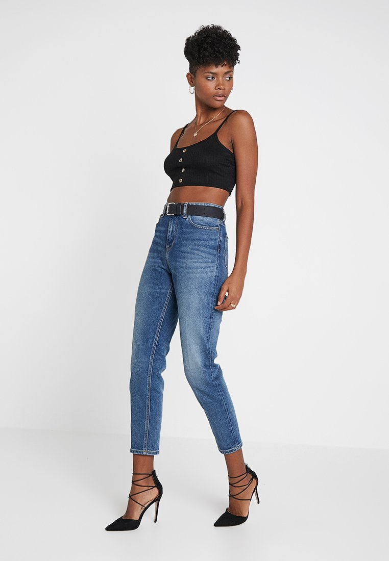 Missguided - BUTTON DOWN CROP CAMI 2 PACK - Top - grey/black