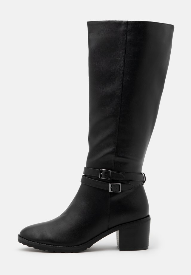 WIDE FIT HEELED LONG BOOT - Botas - black