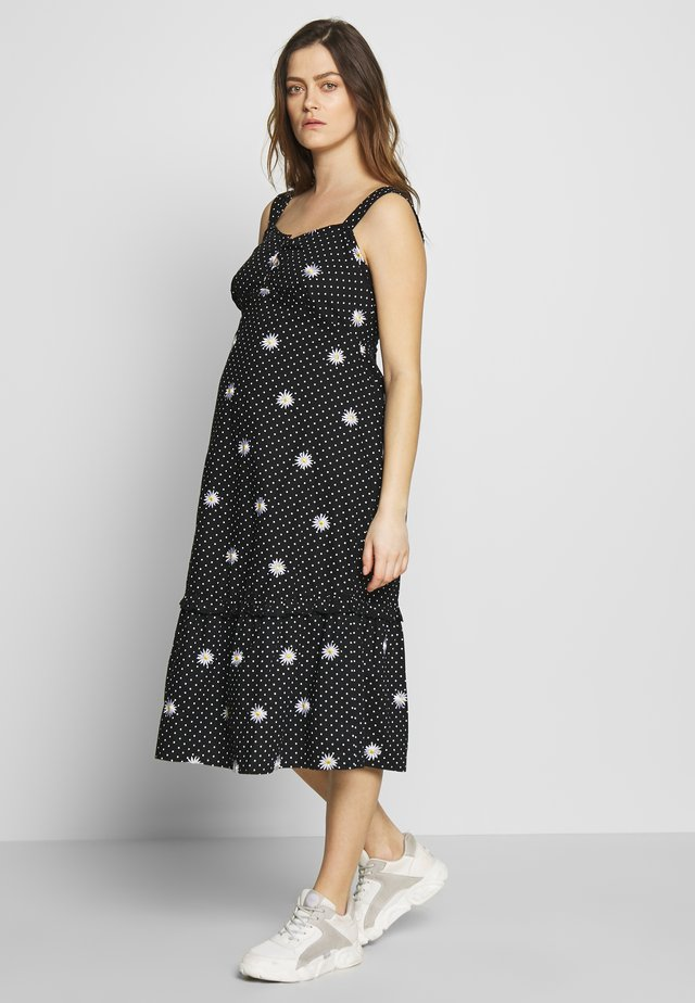 MATERNITY DAISY EMBROIDERED DRESS - Jerseykjoler - black