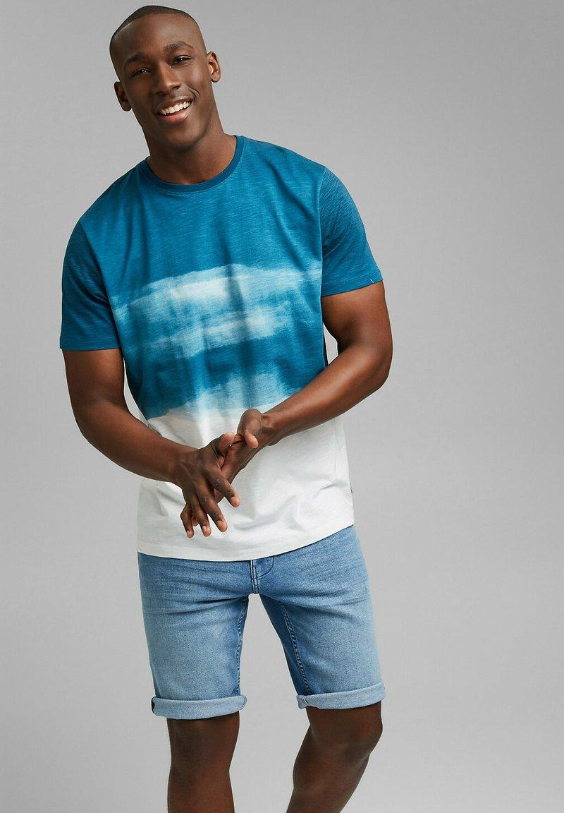Esprit - FASHION SLUB - Print T-shirt - petrol blue