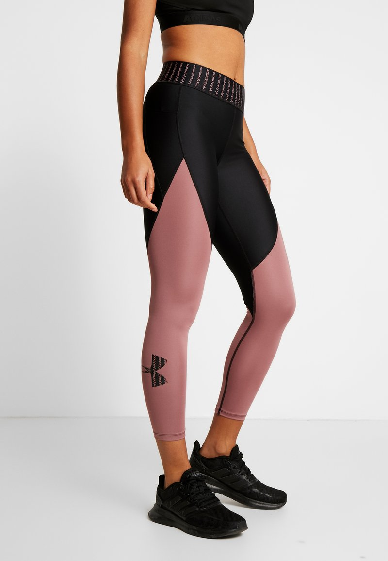 Under Armour - COLOR BLOCK GRAPHIC ANKLE CROP - Leggings - black /hushed pink