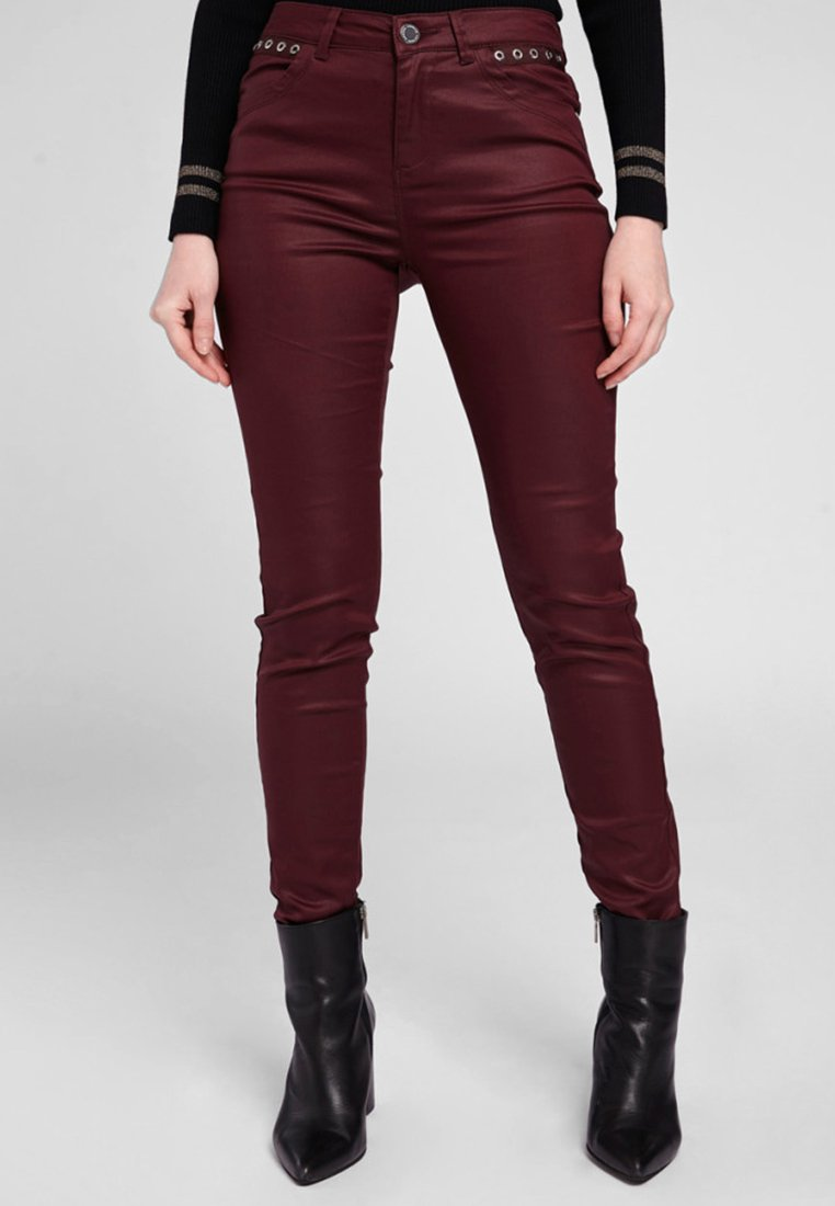 Morgan - HIGH WAISTED TROUSERS - Trousers - dark red