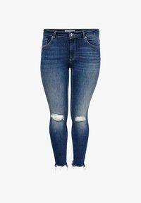ONLY Carmakoma - CURVY CARWILLY REG ANKLE DESTROYED - Jeans Skinny Fit - dark blue denim - 0
