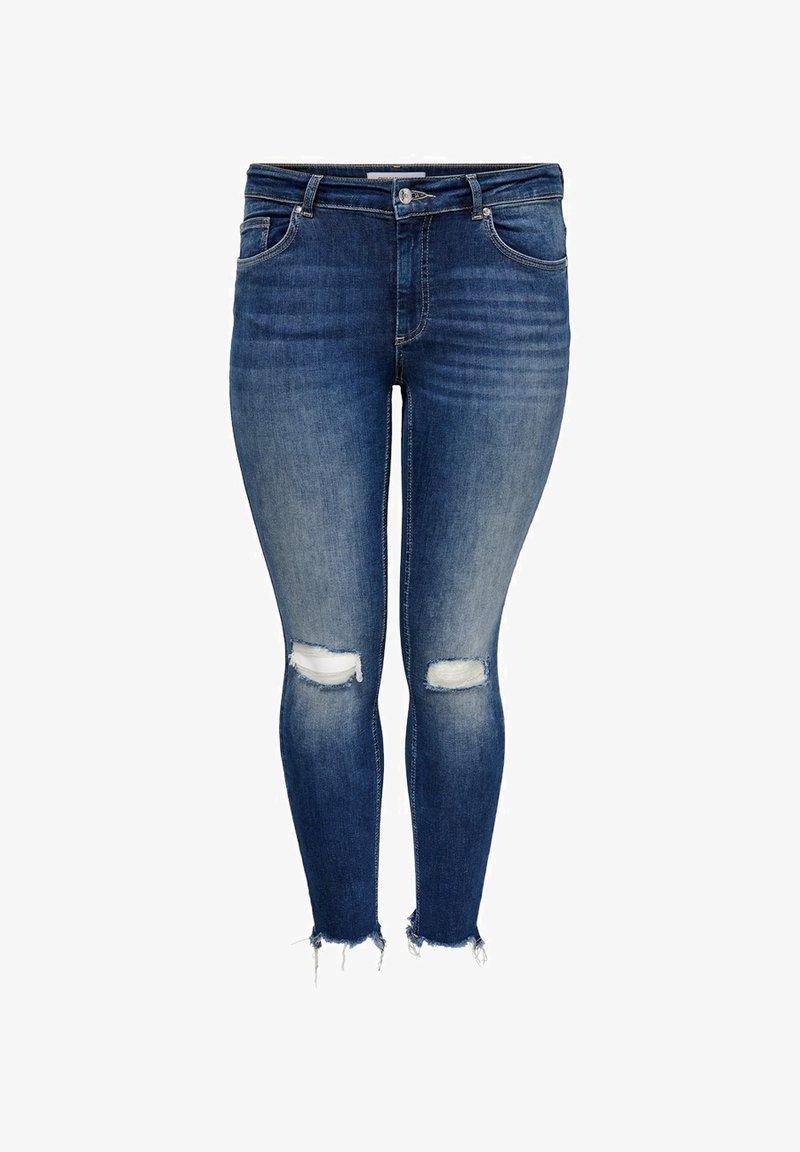 ONLY Carmakoma - CURVY CARWILLY REG ANKLE DESTROYED - Jeans Skinny Fit - dark blue denim
