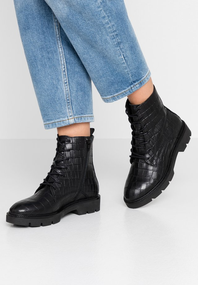 BIACALDER CHUNKY LACED UP BOOT - Platform ankle boots - black
