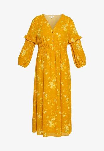 RUFFLE V-NECK DRESS - Vestido largo - ochre
