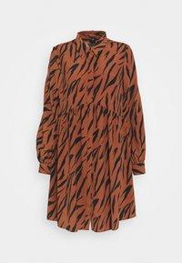 River Island - LISA SMOCK DRESS - Shirt dress - brown - 4