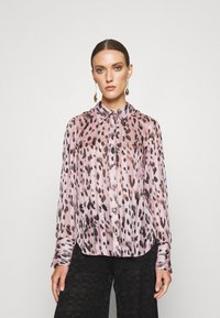 Milly - LEOPARD STRIPE BUTTON UP - Button-down blouse - pink multi - 0