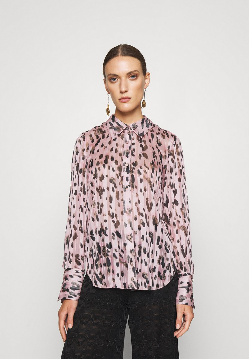 Milly - LEOPARD STRIPE BUTTON UP - Button-down blouse - pink multi