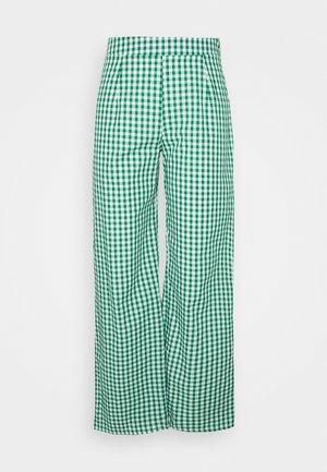 WIDE LEG TROUSER GINGHAM - Spodnie materiałowe - green